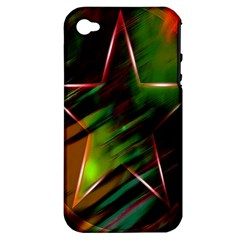 Colorful Background Star Apple Iphone 4/4s Hardshell Case (pc+silicone)