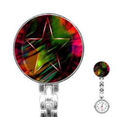 Colorful Background Star Stainless Steel Nurses Watch