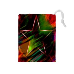 Colorful Background Star Drawstring Pouches (medium)