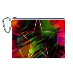 Colorful Background Star Canvas Cosmetic Bag (l)