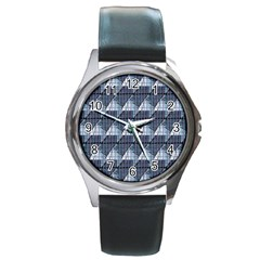 Snow Peak Abstract Blue Wallpaper Round Metal Watch