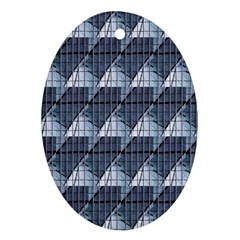 Snow Peak Abstract Blue Wallpaper Ornament (Oval)
