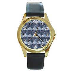 Snow Peak Abstract Blue Wallpaper Round Gold Metal Watch