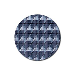 Snow Peak Abstract Blue Wallpaper Rubber Round Coaster (4 Pack)