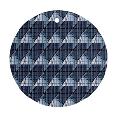 Snow Peak Abstract Blue Wallpaper Round Ornament (Two Sides)