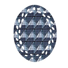 Snow Peak Abstract Blue Wallpaper Oval Filigree Ornament (Two Sides)