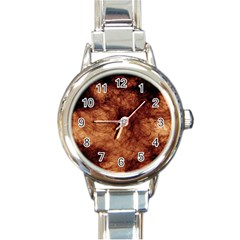 Abstract Brown Smoke Round Italian Charm Watch