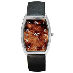Abstract Brown Smoke Barrel Style Metal Watch