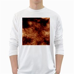Abstract Brown Smoke White Long Sleeve T Shirts