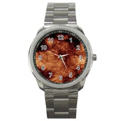 Abstract Brown Smoke Sport Metal Watch