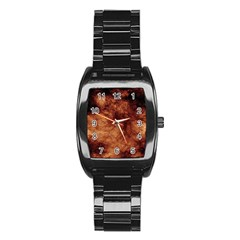 Abstract Brown Smoke Stainless Steel Barrel Watch