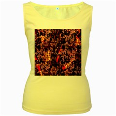 Abstract Painting Digital Graphic Art Women s Yellow Tank Top