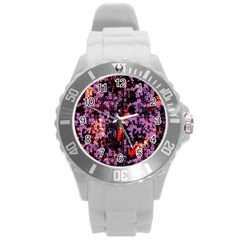 Abstract Painting Digital Graphic Art Round Plastic Sport Watch (L)