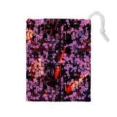 Abstract Painting Digital Graphic Art Drawstring Pouches (Large)