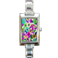 Floral Colorful Background Of Hand Drawn Flowers Rectangle Italian Charm Watch