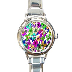 Floral Colorful Background Of Hand Drawn Flowers Round Italian Charm Watch