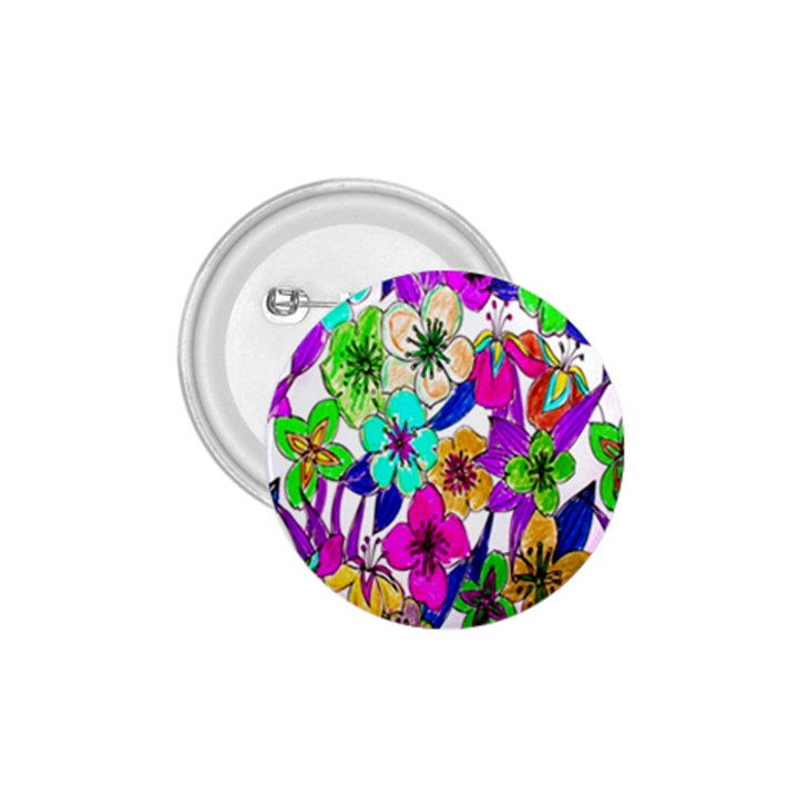 Floral Colorful Background Of Hand Drawn Flowers 1.75  Buttons
