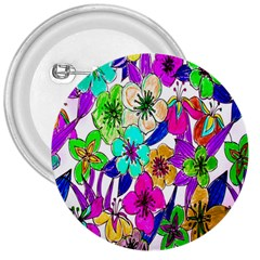 Floral Colorful Background Of Hand Drawn Flowers 3  Buttons