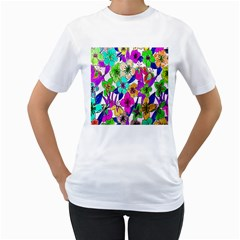 Floral Colorful Background Of Hand Drawn Flowers Women s T-Shirt (White) (Two Sided)
