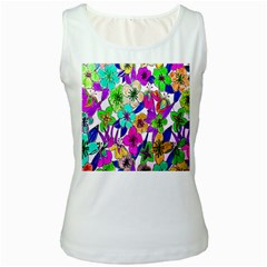 Floral Colorful Background Of Hand Drawn Flowers Women s White Tank Top