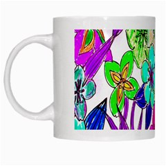 Floral Colorful Background Of Hand Drawn Flowers White Mugs
