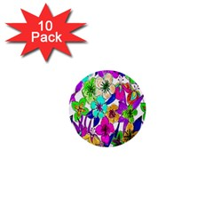 Floral Colorful Background Of Hand Drawn Flowers 1  Mini Buttons (10 Pack)