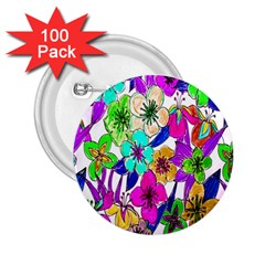 Floral Colorful Background Of Hand Drawn Flowers 2 25  Buttons (100 Pack)