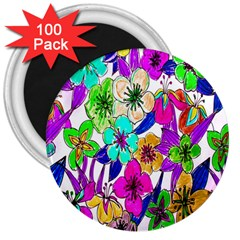 Floral Colorful Background Of Hand Drawn Flowers 3  Magnets (100 Pack)