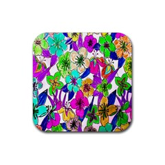 Floral Colorful Background Of Hand Drawn Flowers Rubber Square Coaster (4 pack)
