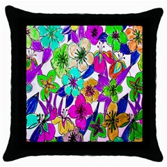 Floral Colorful Background Of Hand Drawn Flowers Throw Pillow Case (Black)