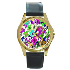 Floral Colorful Background Of Hand Drawn Flowers Round Gold Metal Watch