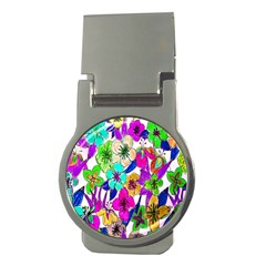 Floral Colorful Background Of Hand Drawn Flowers Money Clips (round)