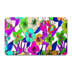 Floral Colorful Background Of Hand Drawn Flowers Magnet (rectangular)