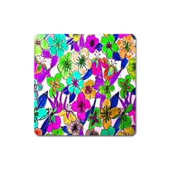 Floral Colorful Background Of Hand Drawn Flowers Square Magnet