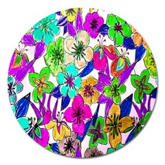 Floral Colorful Background Of Hand Drawn Flowers Magnet 5  (Round)