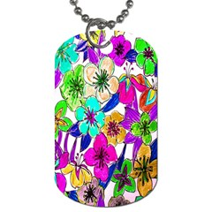 Floral Colorful Background Of Hand Drawn Flowers Dog Tag (one Side)
