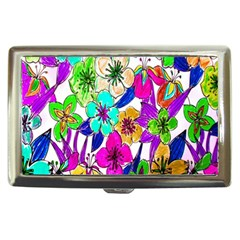 Floral Colorful Background Of Hand Drawn Flowers Cigarette Money Cases