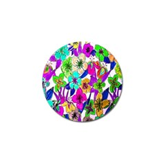 Floral Colorful Background Of Hand Drawn Flowers Golf Ball Marker (4 pack)