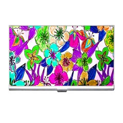 Floral Colorful Background Of Hand Drawn Flowers Business Card Holders