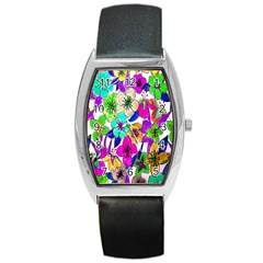 Floral Colorful Background Of Hand Drawn Flowers Barrel Style Metal Watch