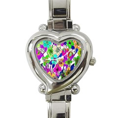 Floral Colorful Background Of Hand Drawn Flowers Heart Italian Charm Watch