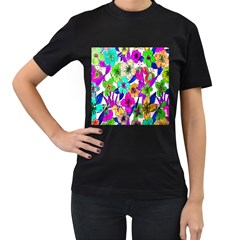 Floral Colorful Background Of Hand Drawn Flowers Women s T-Shirt (Black) (Two Sided)