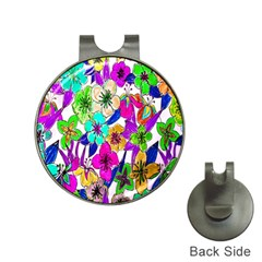 Floral Colorful Background Of Hand Drawn Flowers Hat Clips with Golf Markers