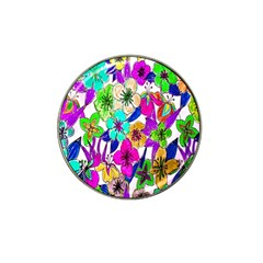 Floral Colorful Background Of Hand Drawn Flowers Hat Clip Ball Marker (4 Pack)