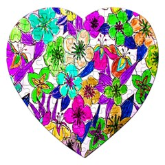 Floral Colorful Background Of Hand Drawn Flowers Jigsaw Puzzle (Heart)