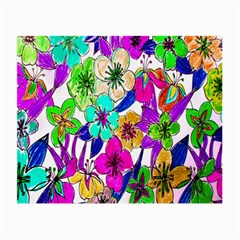 Floral Colorful Background Of Hand Drawn Flowers Small Glasses Cloth
