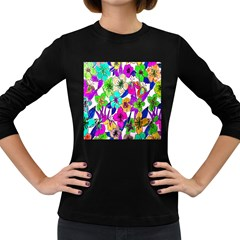 Floral Colorful Background Of Hand Drawn Flowers Women s Long Sleeve Dark T-Shirts