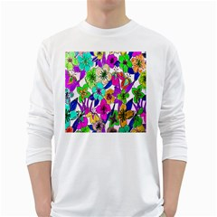 Floral Colorful Background Of Hand Drawn Flowers White Long Sleeve T Shirts