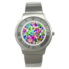 Floral Colorful Background Of Hand Drawn Flowers Stainless Steel Watch