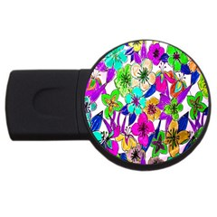 Floral Colorful Background Of Hand Drawn Flowers Usb Flash Drive Round (4 Gb)